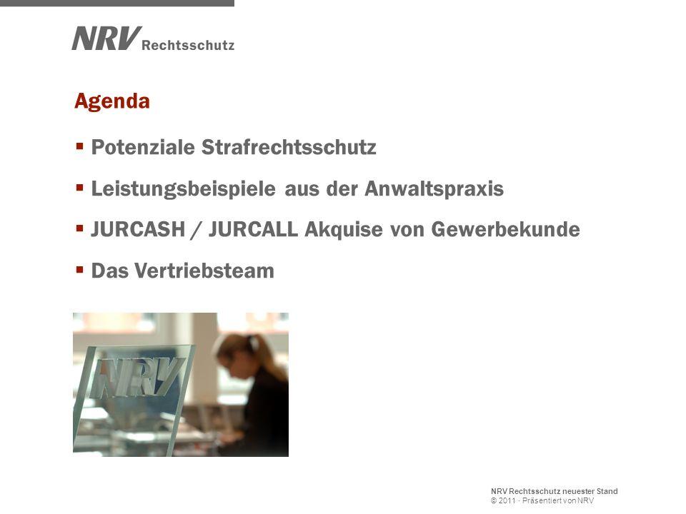 Agenda Potenziale Strafrechtsschutz. Leistungsbeispiele aus der Anwaltspraxis. JURCASH / JURCALL Akquise von Gewerbekunde.