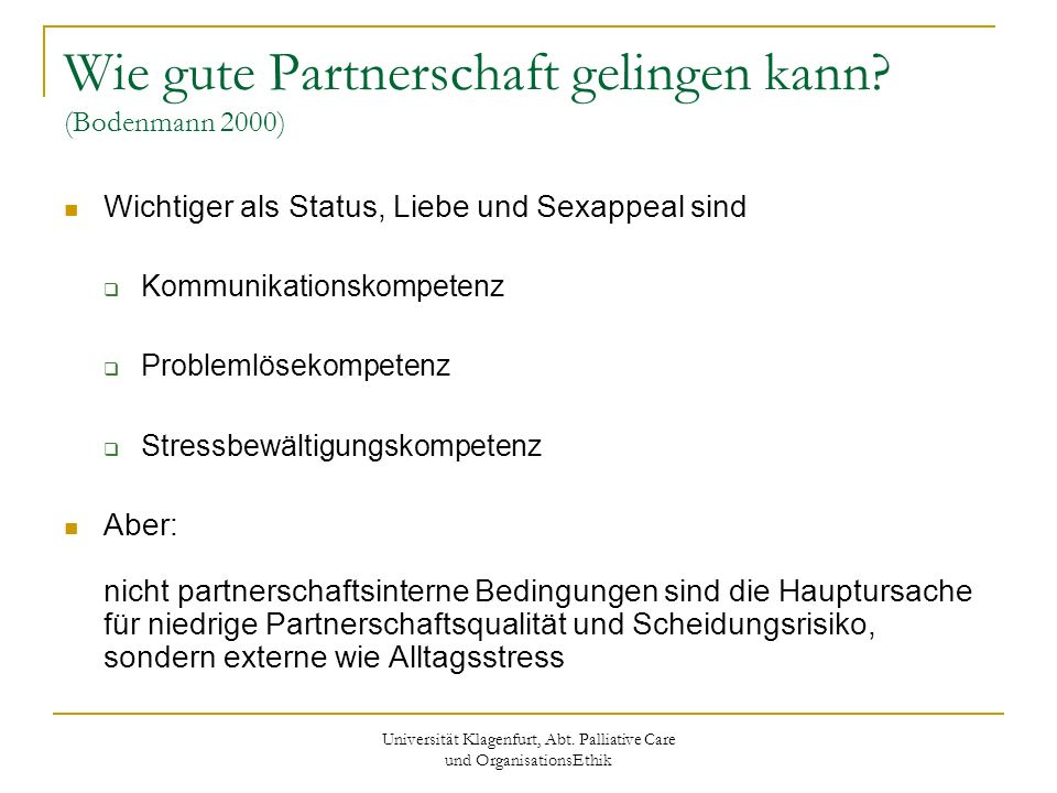 Wie gute Partnerschaft gelingen kann (Bodenmann 2000)