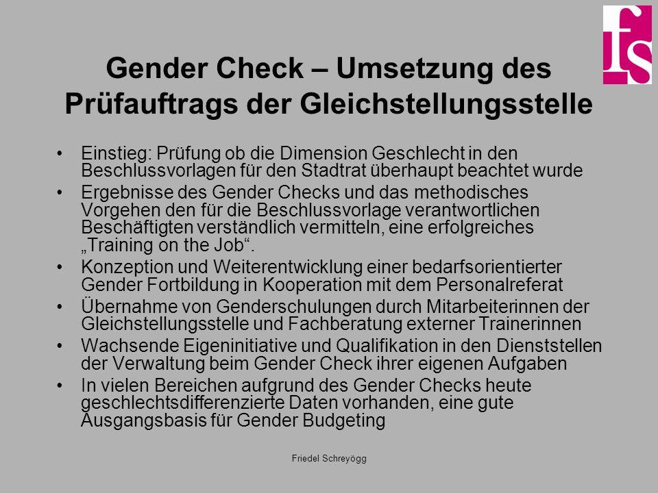 Gender Check – Umsetzung des Prüfauftrags der Gleichstellungsstelle