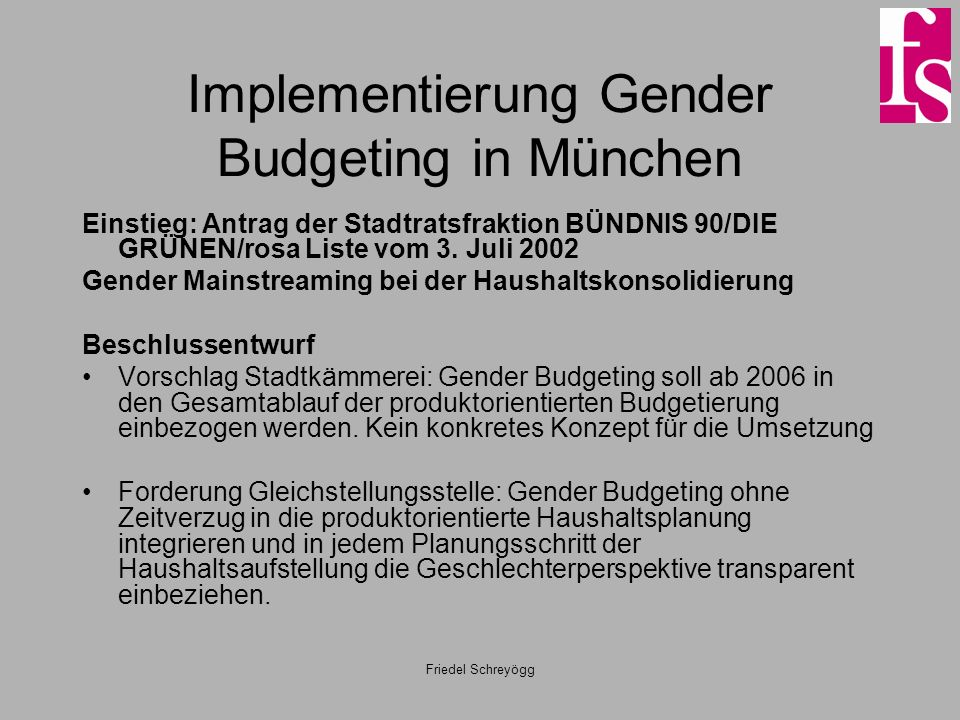 Implementierung Gender Budgeting in München
