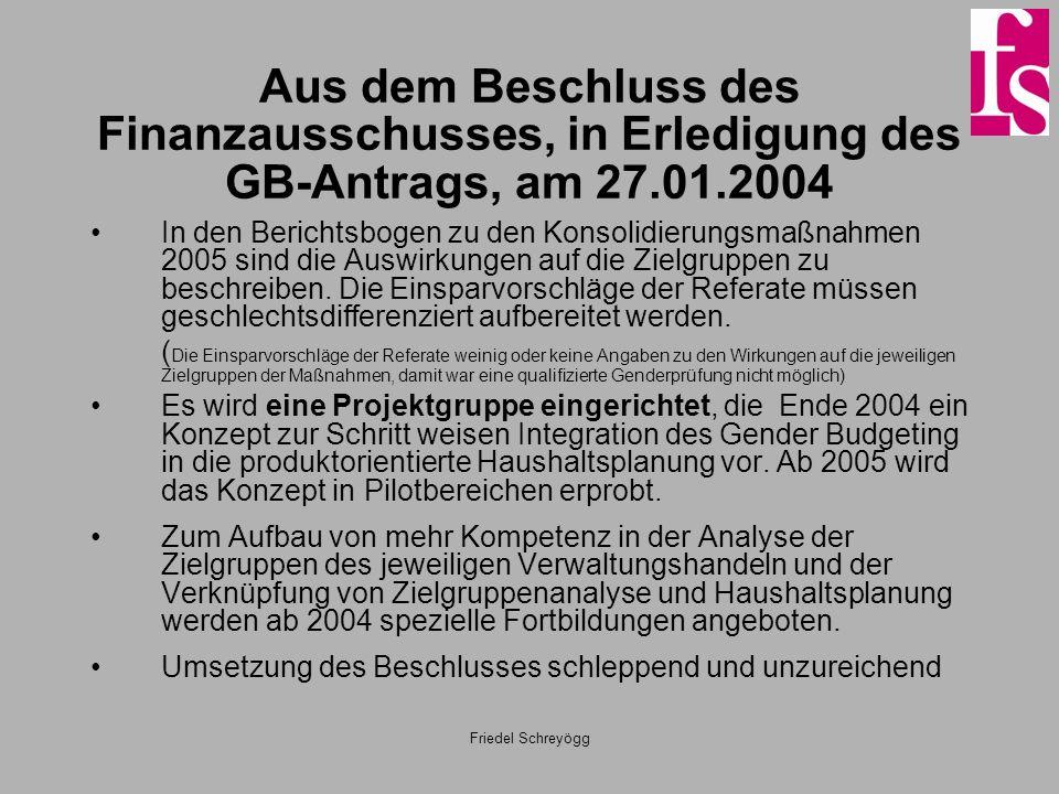 Aus dem Beschluss des Finanzausschusses, in Erledigung des GB-Antrags, am 27.01.2004