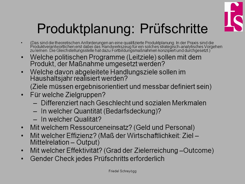 Produktplanung: Prüfschritte