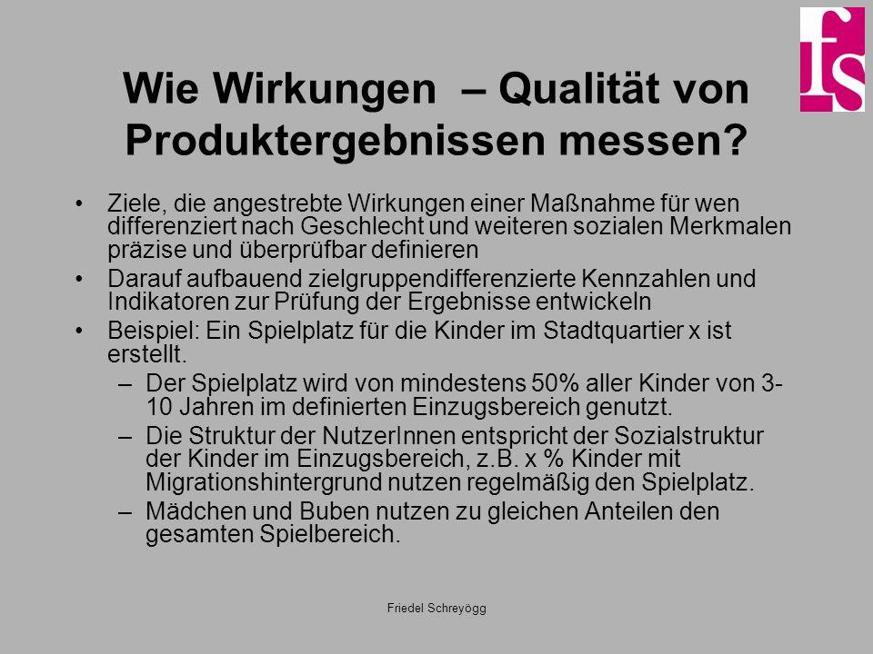 Wie Wirkungen – Qualität von Produktergebnissen messen