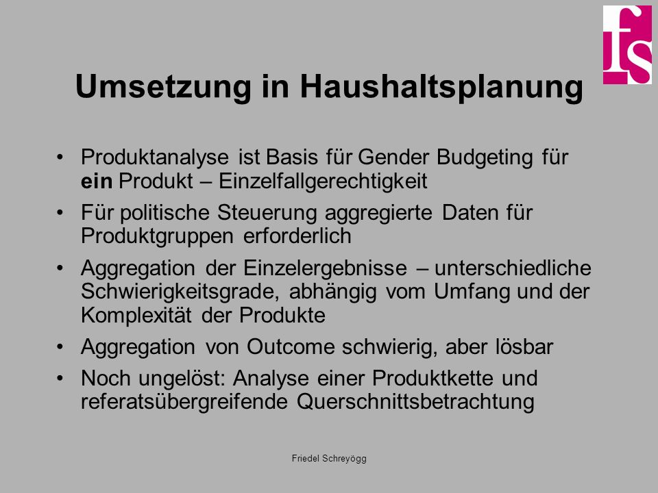 Umsetzung in Haushaltsplanung