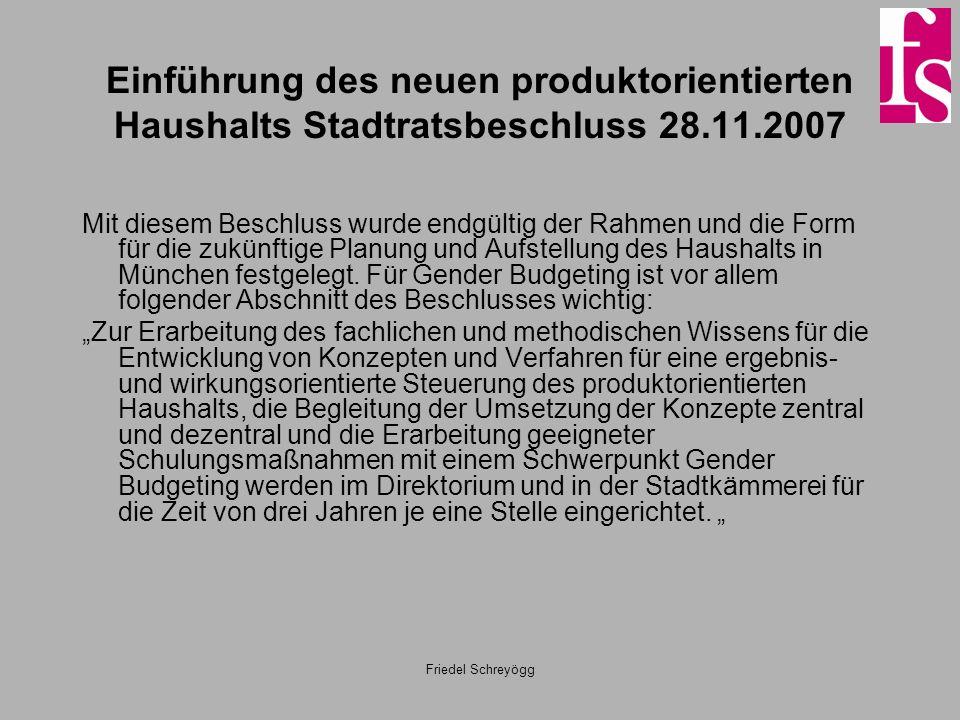 Einführung des neuen produktorientierten Haushalts Stadtratsbeschluss 28.11.2007