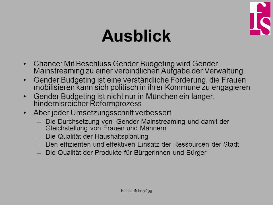 AusblickChance: Mit Beschluss Gender Budgeting wird Gender Mainstreaming zu einer verbindlichen Aufgabe der Verwaltung.