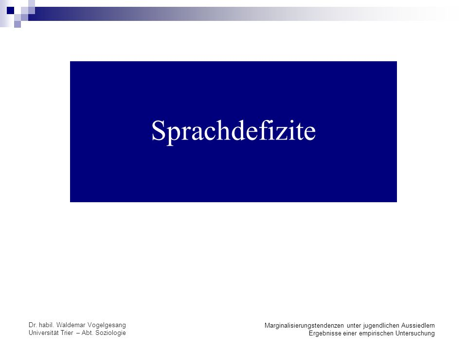 Sprachdefizite Dr. habil. Waldemar Vogelgesang