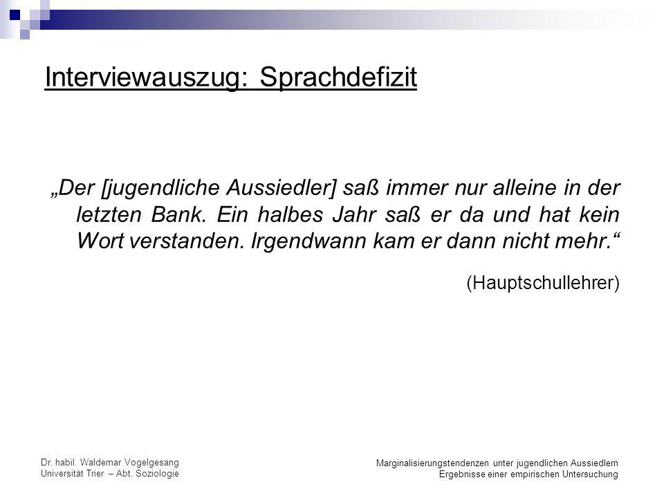 (Hauptschullehrer) Interviewauszug: Sprachdefizit