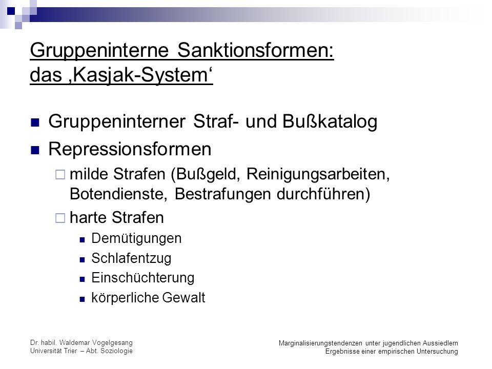 Gruppeninterne Sanktionsformen: das 'Kasjak-System'