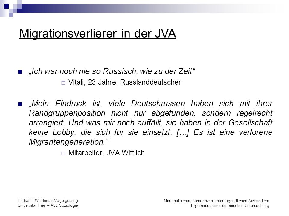 Migrationsverlierer in der JVA