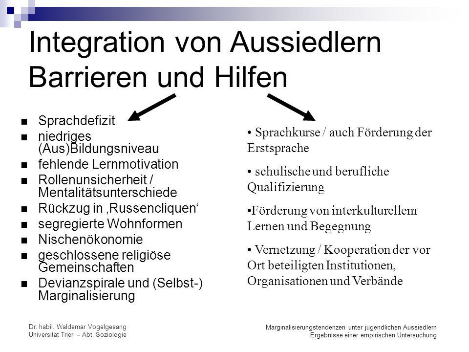 Integration von Aussiedlern Barrieren und Hilfen