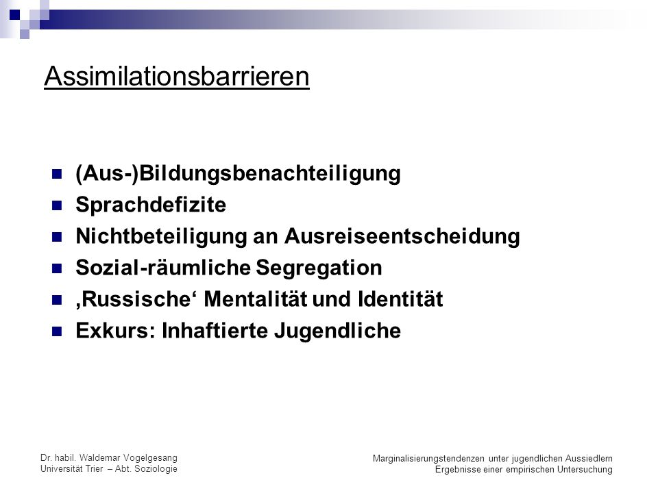 Assimilationsbarrieren