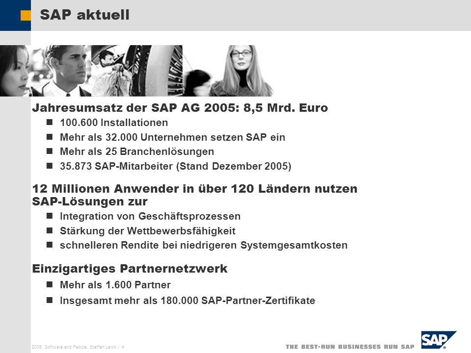 SAP aktuell Jahresumsatz der SAP AG 2005: 8,5 Mrd. Euro