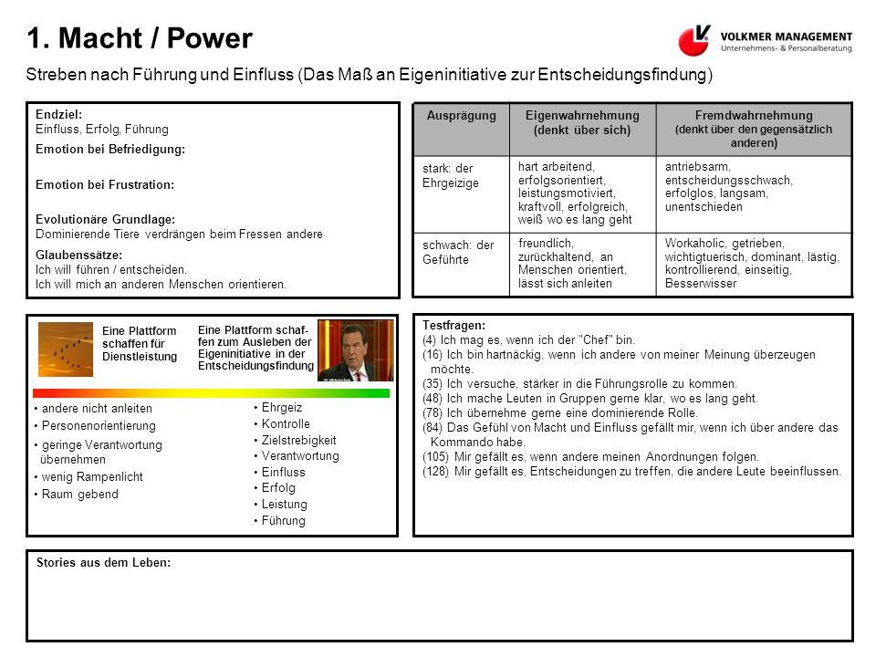 1. Macht / Power Streben nach Führung und Einfluss (Das Maß an Eigeninitiative zur Entscheidungsfindung)