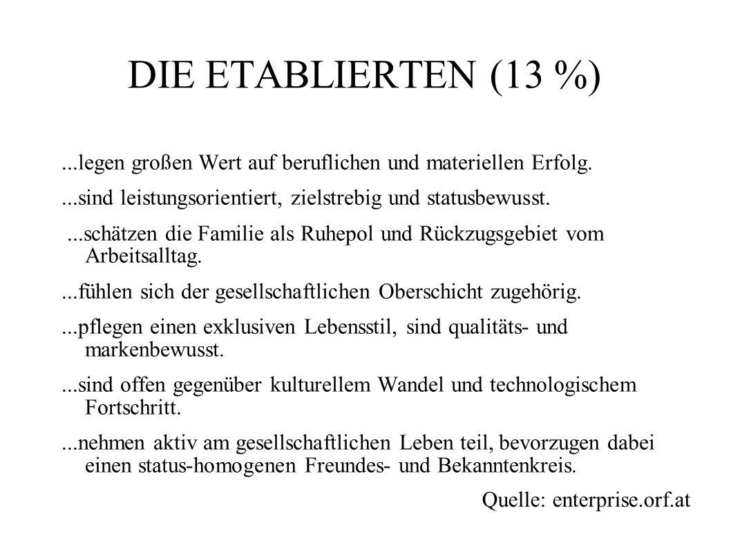 DIE ETABLIERTEN (13 %) ...legen großen Wert auf beruflichen und materiellen Erfolg. ...sind leistungsorientiert, zielstrebig und statusbewusst.