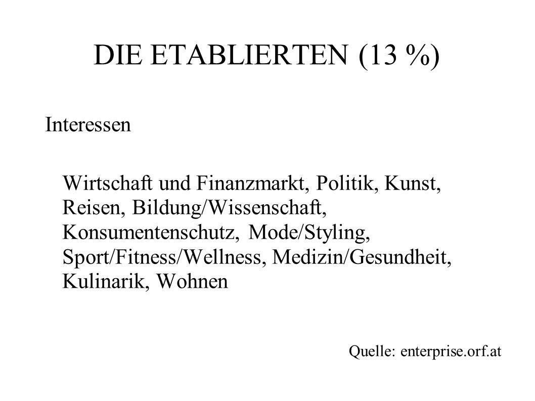 DIE ETABLIERTEN (13 %) Interessen