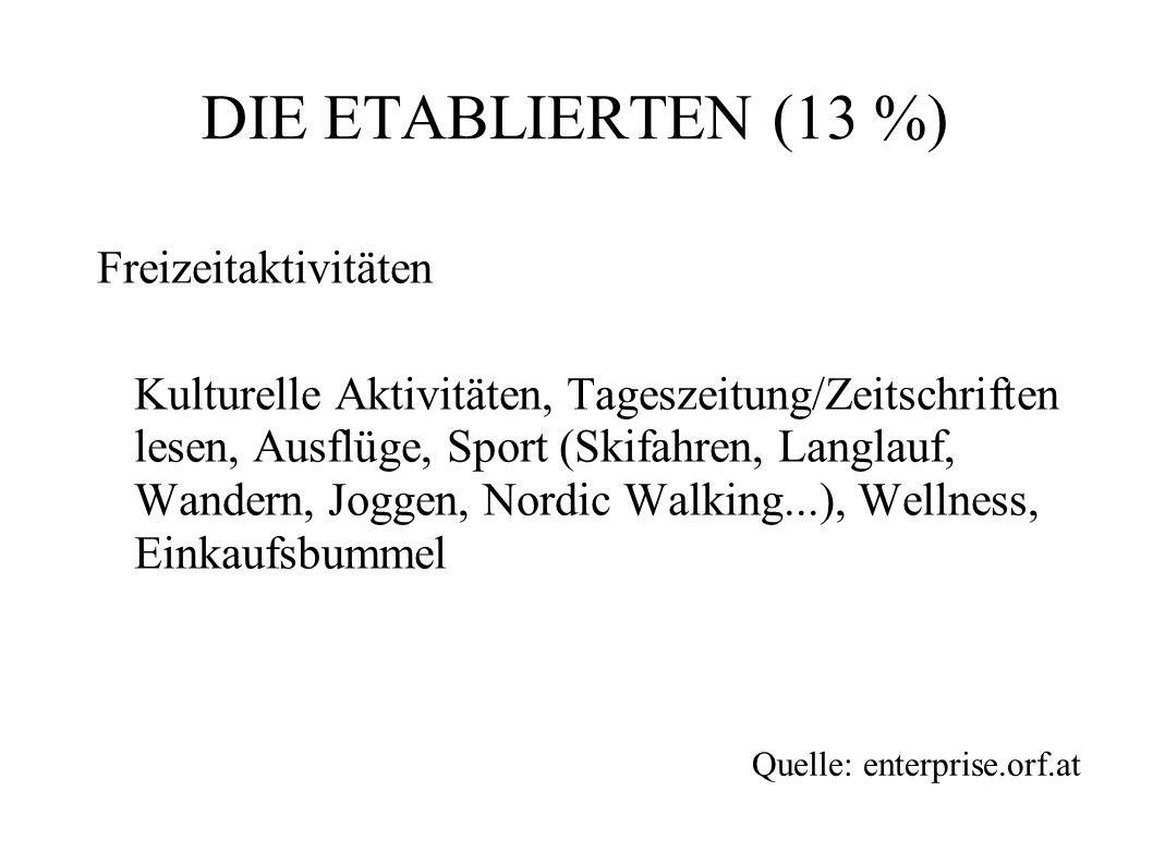 DIE ETABLIERTEN (13 %) Freizeitaktivitäten
