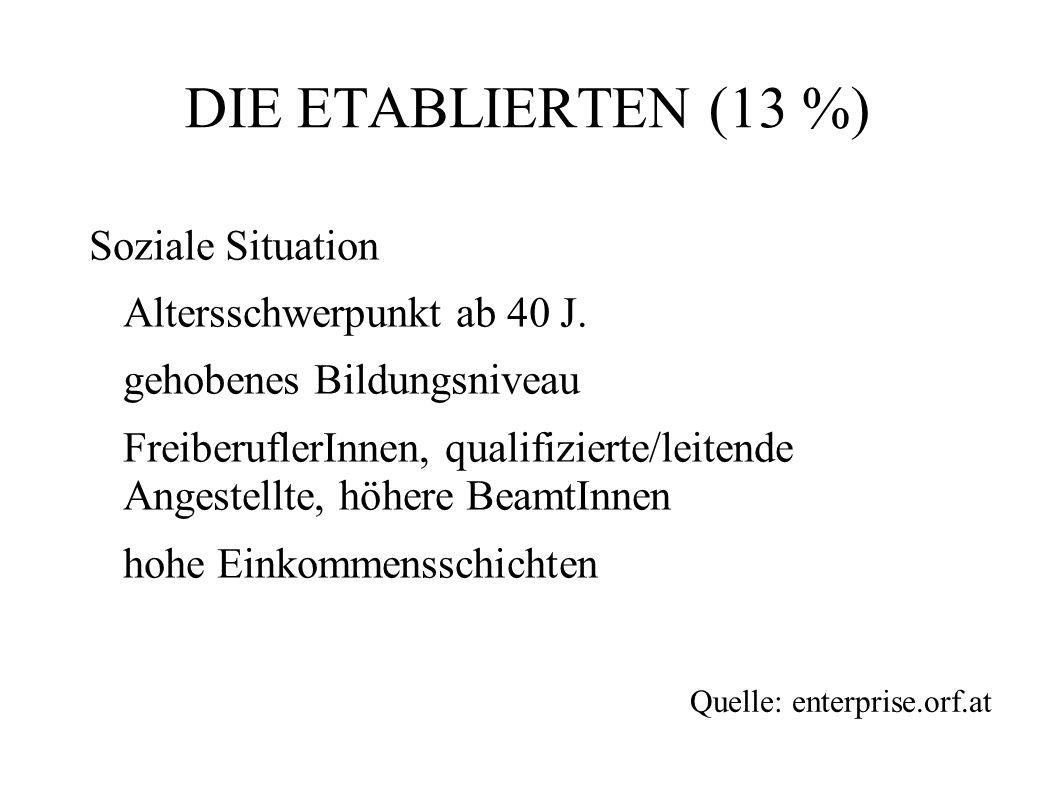 DIE ETABLIERTEN (13 %) Soziale Situation Altersschwerpunkt ab 40 J.