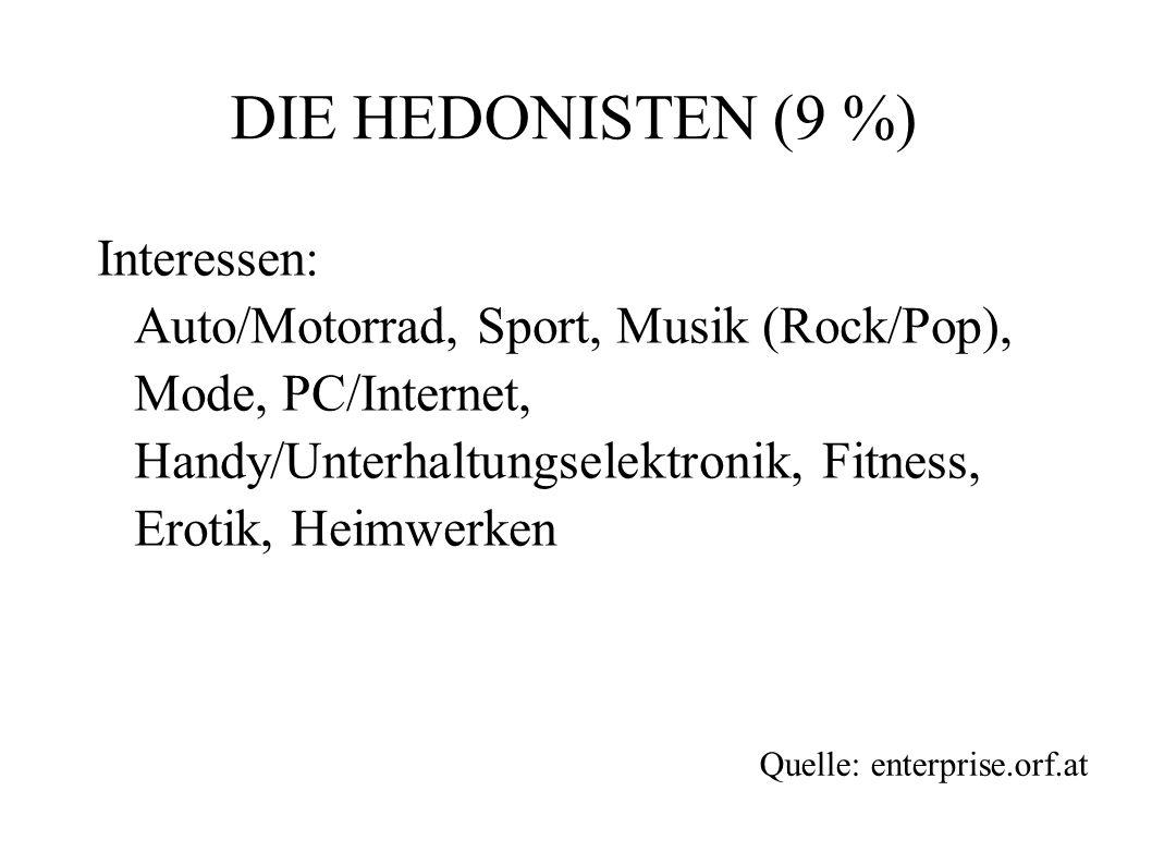 DIE HEDONISTEN (9 %) Interessen: