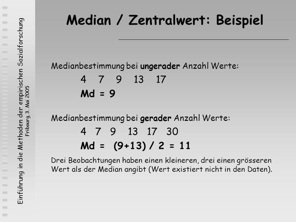 Median / Zentralwert: Beispiel