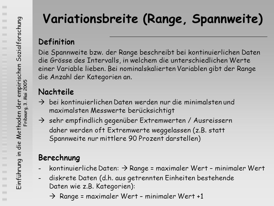Variationsbreite (Range, Spannweite)