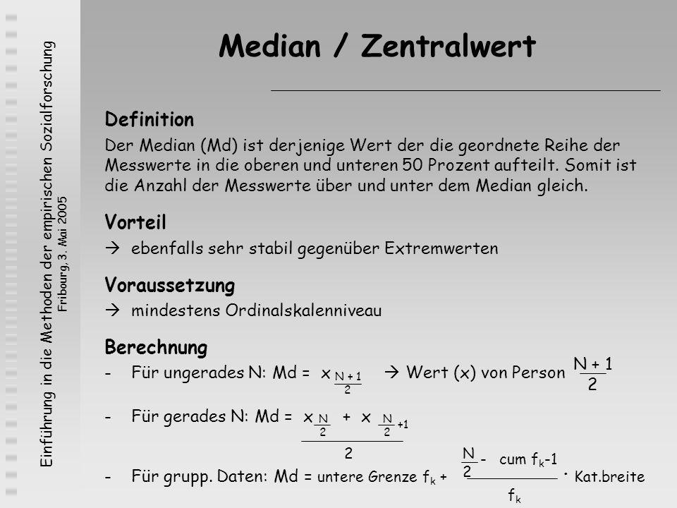 Median / Zentralwert Definition Vorteil Voraussetzung Berechnung