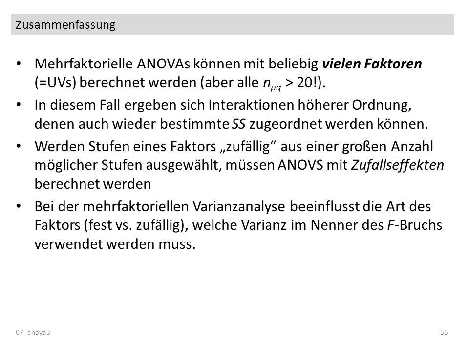 Zusammenfassung Mehrfaktorielle ANOVAs können mit beliebig vielen Faktoren (=UVs) berechnet werden (aber alle npq > 20!).