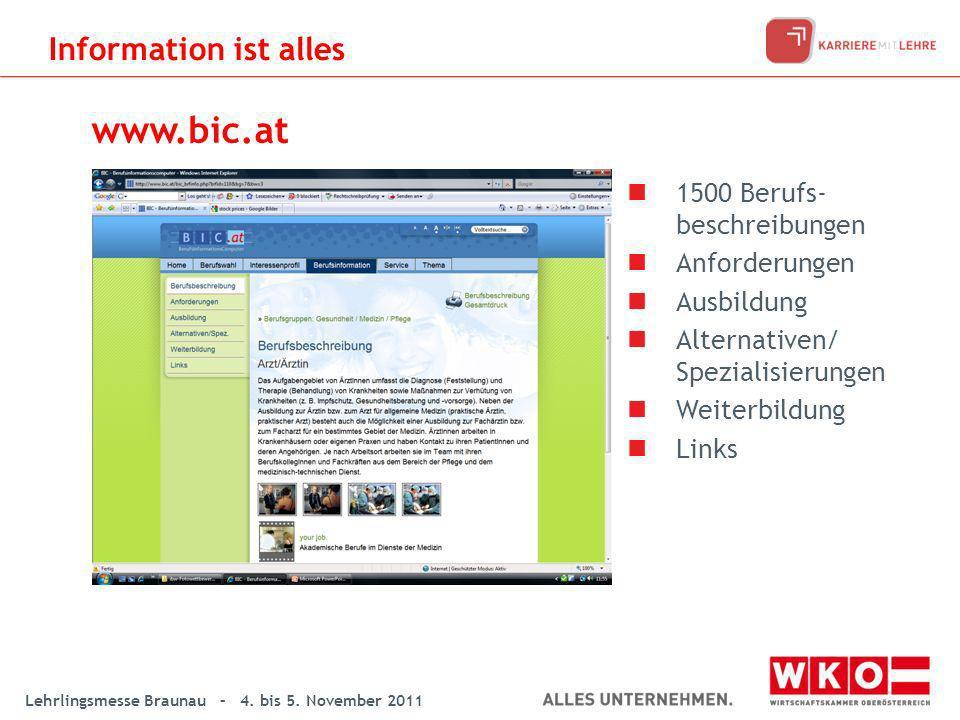 www.bic.at Information ist alles 1500 Berufs-beschreibungen