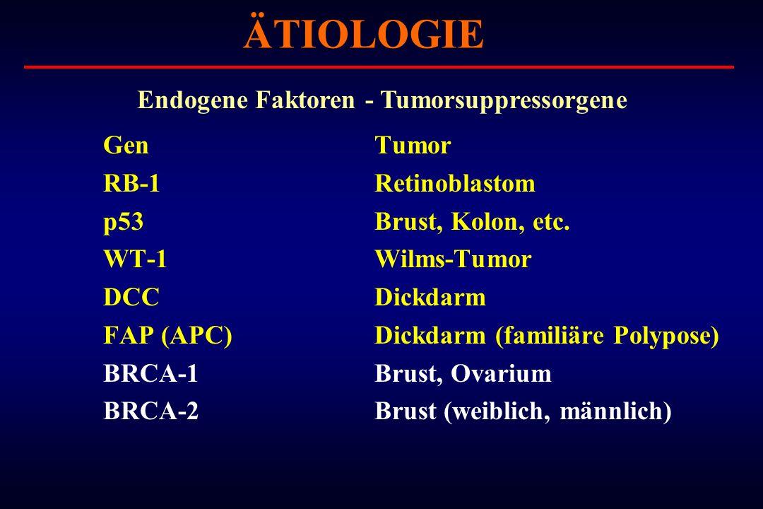 ÄTIOLOGIE Endogene Faktoren - Tumorsuppressorgene Gen Tumor