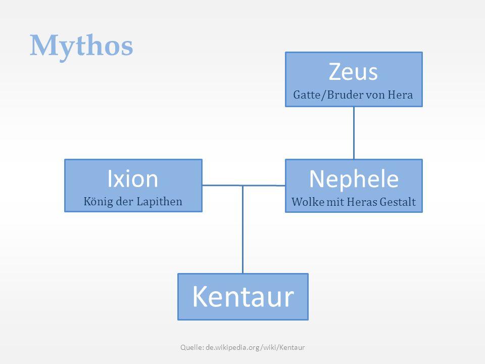 Kentaur Mythos Zeus Ixion Nephele Gatte/Bruder von Hera