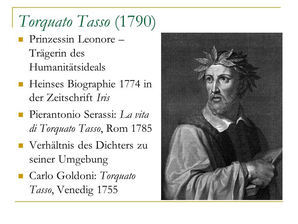 Torquato Tasso (1790) Prinzessin Leonore – Trägerin des Humanitätsideals. Heinses Biographie 1774 in der Zeitschrift Iris.