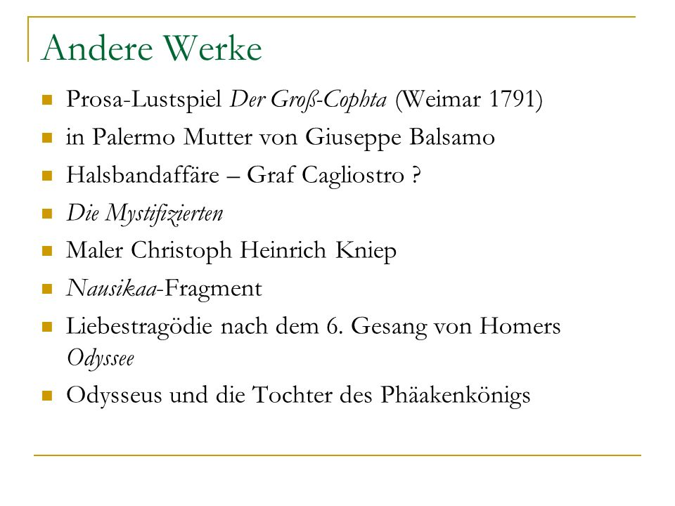 Andere Werke Prosa-Lustspiel Der Groß-Cophta (Weimar 1791)