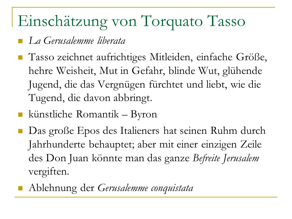 Einschätzung von Torquato Tasso