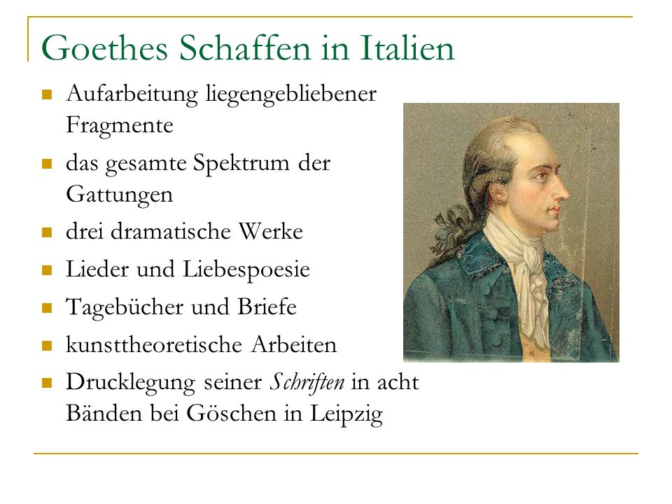 Goethes Schaffen in Italien