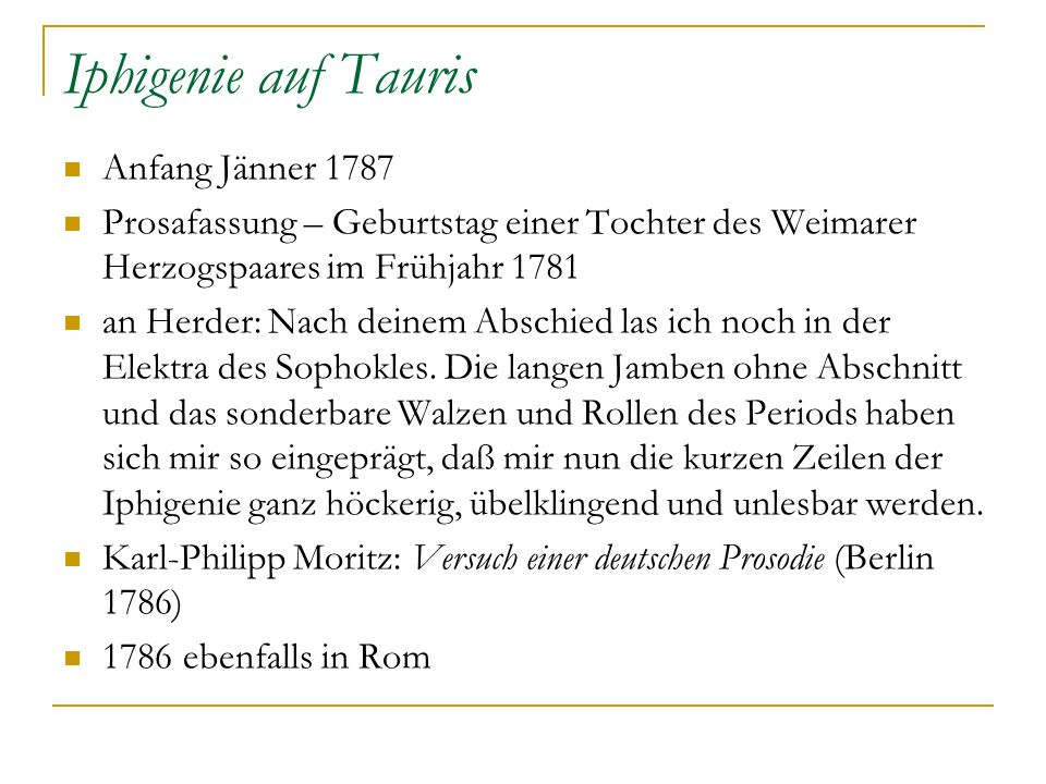 Iphigenie auf Tauris Anfang Jänner 1787