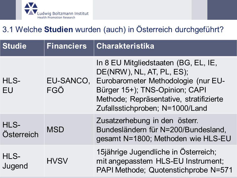 3.1 Welche Studien wurden (auch) in Österreich durchgeführt