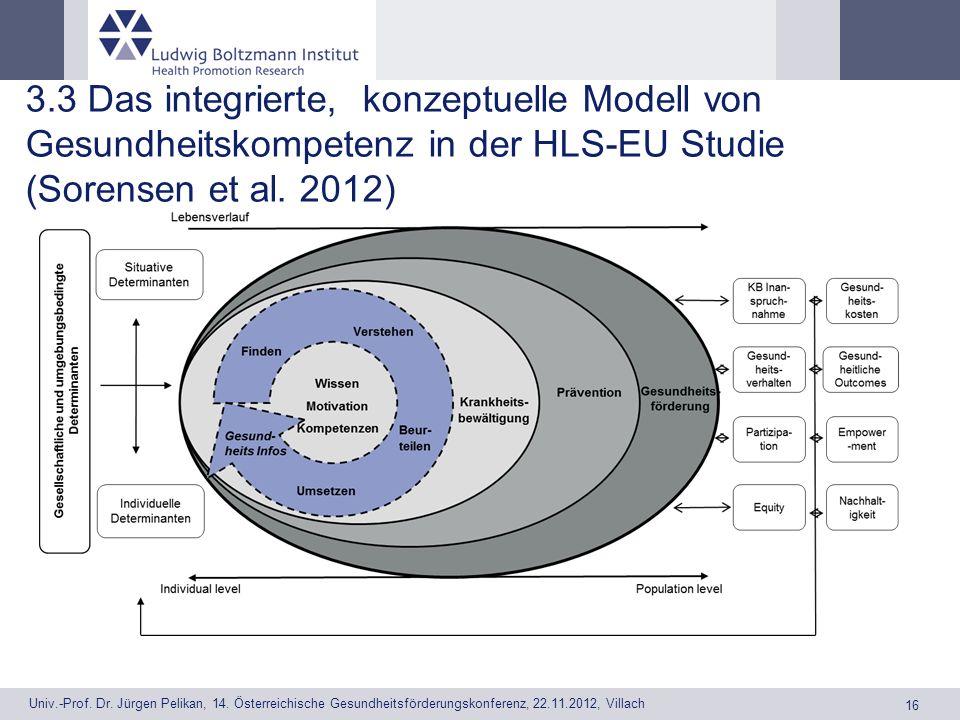 3.3 Das integrierte, konzeptuelle Modell von Gesundheitskompetenz in der HLS-EU Studie (Sorensen et al. 2012)