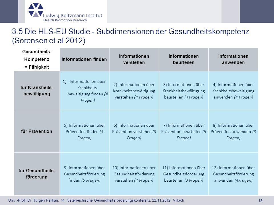 3.5 Die HLS-EU Studie - Subdimensionen der Gesundheitskompetenz (Sorensen et al 2012)