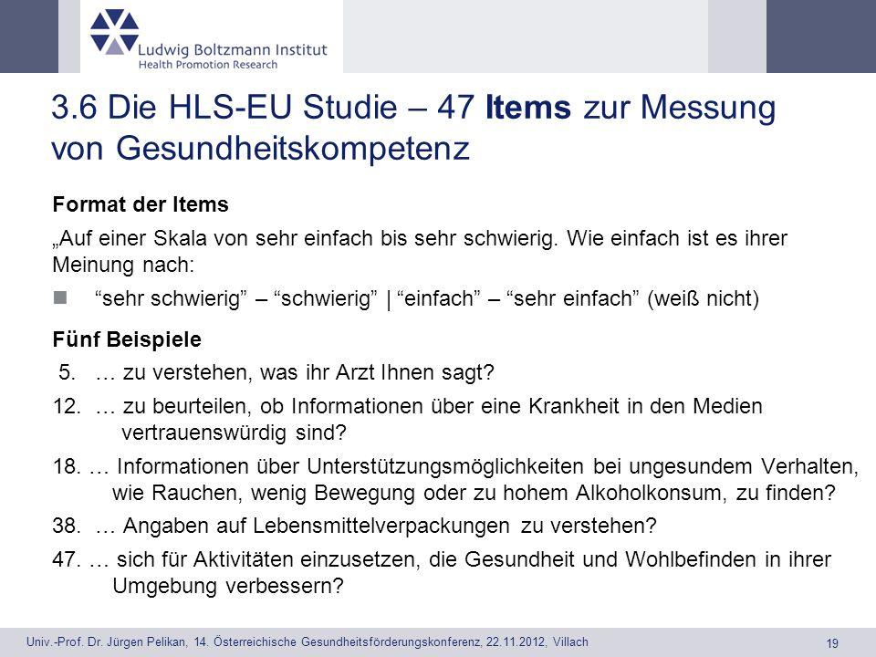 3.6 Die HLS-EU Studie – 47 Items zur Messung von Gesundheitskompetenz