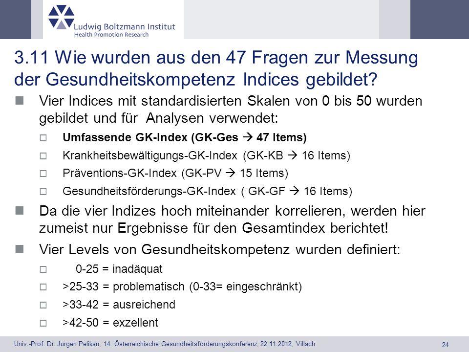 3.11 Wie wurden aus den 47 Fragen zur Messung der Gesundheitskompetenz Indices gebildet