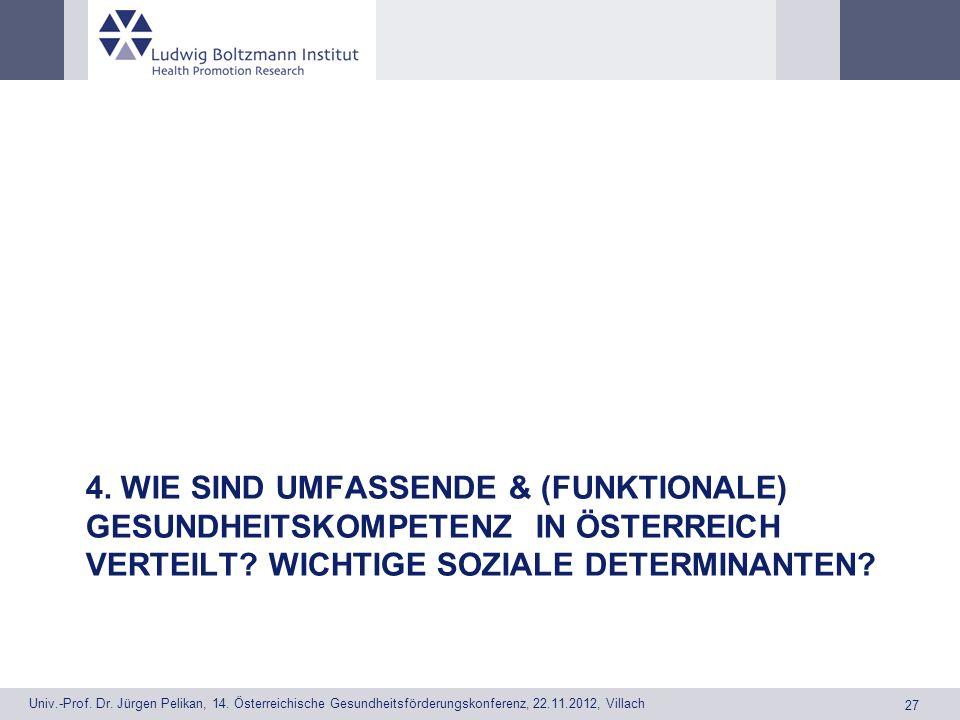 4. Wie sind umfassende & (funktionale) Gesundheitskompetenz in Österreich verteilt.