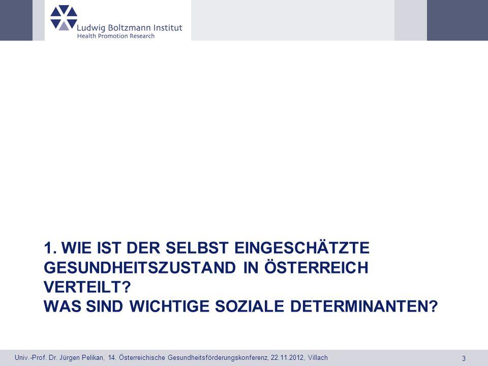 1. Wie ist der selbst eingeschätzte Gesundheitszustand in Österreich verteilt.