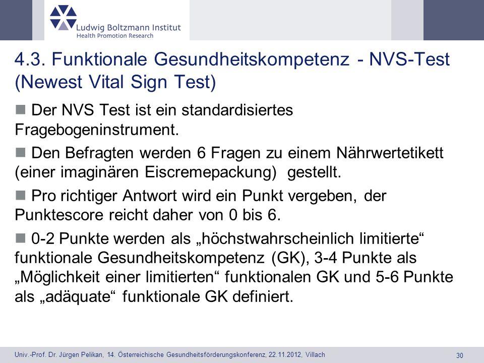 4.3. Funktionale Gesundheitskompetenz - NVS-Test (Newest Vital Sign Test)