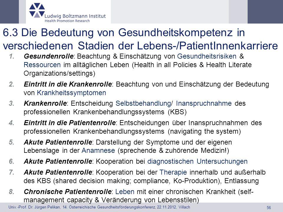6.3 Die Bedeutung von Gesundheitskompetenz in verschiedenen Stadien der Lebens-/PatientInnenkarriere