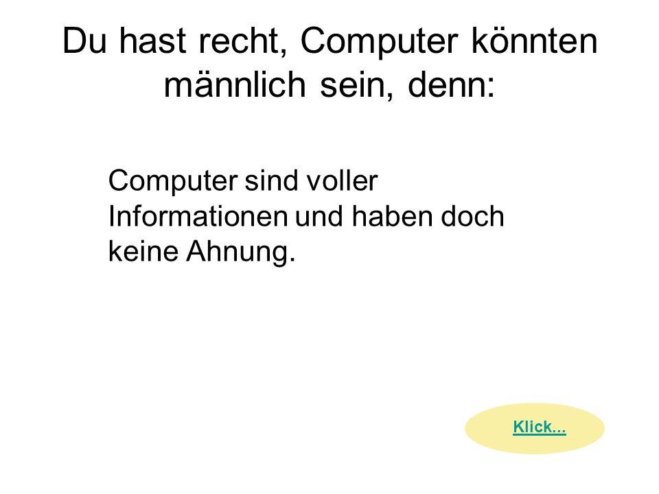 Du hast recht, Computer könnten männlich sein, denn: