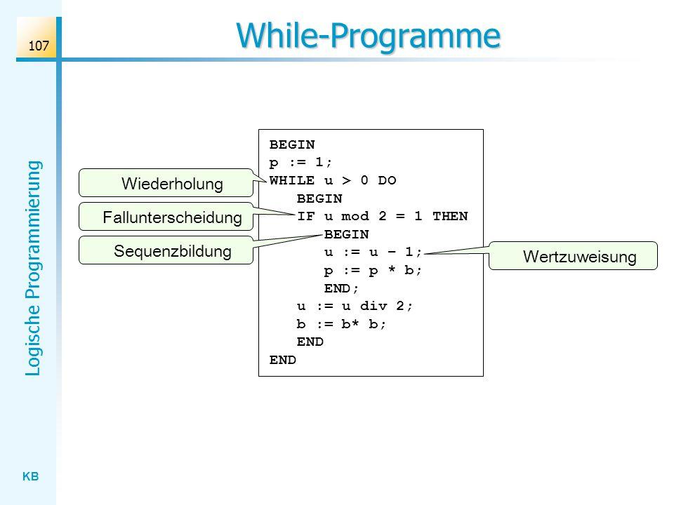 While-Programme Wiederholung Fallunterscheidung Sequenzbildung