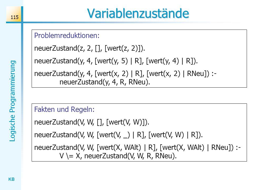 Variablenzustände Problemreduktionen: