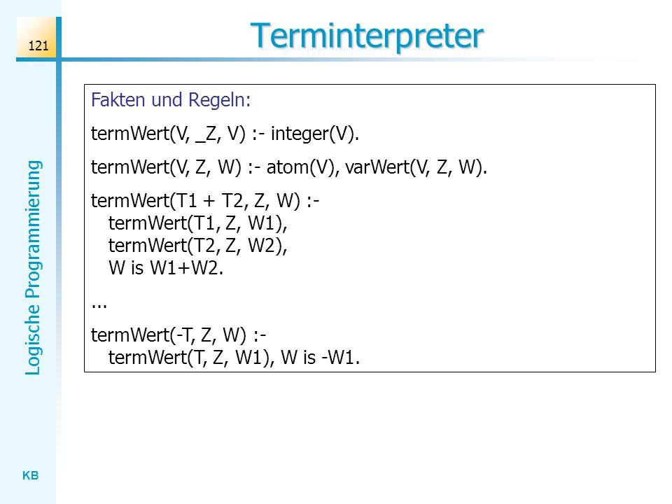 Terminterpreter Fakten und Regeln: termWert(V, _Z, V) :- integer(V).