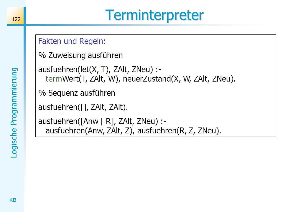 Terminterpreter Fakten und Regeln: % Zuweisung ausführen