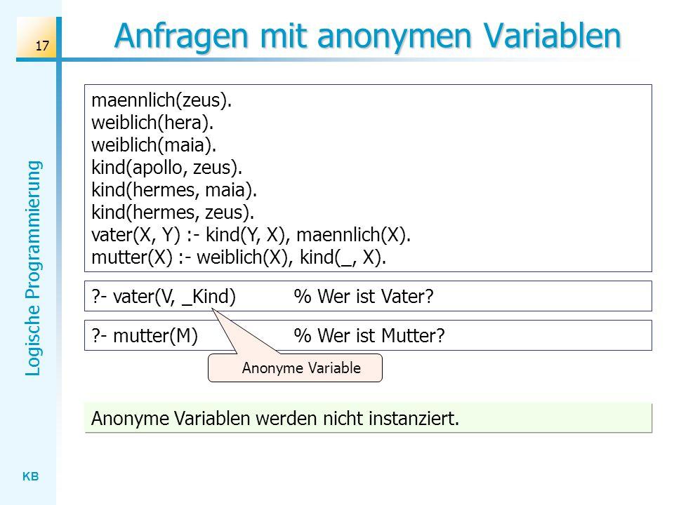 Anfragen mit anonymen Variablen